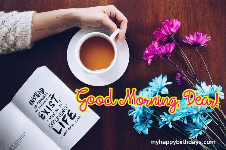 Good Morning Flowers Image with Tea