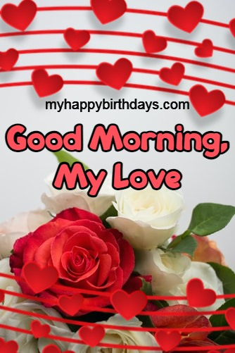Red and White rose with Morning Message