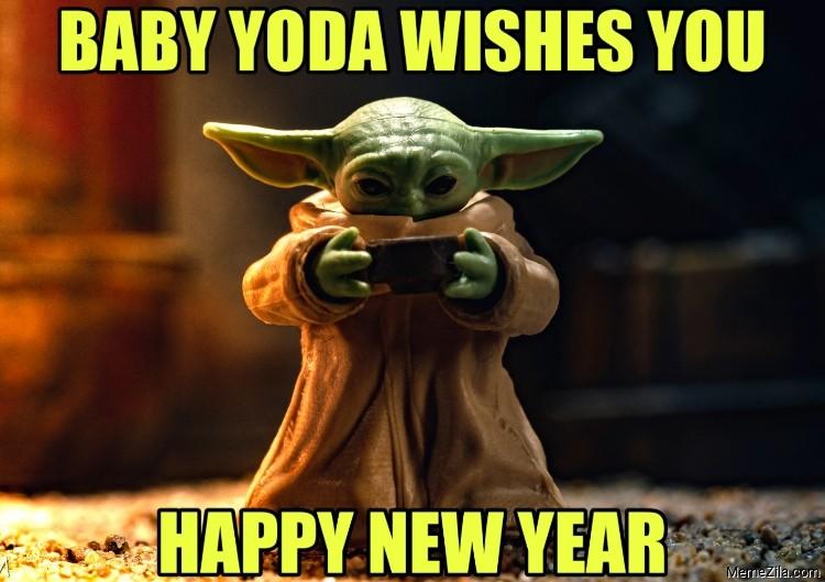 Baby Yoda Wishes You. Happy New Year