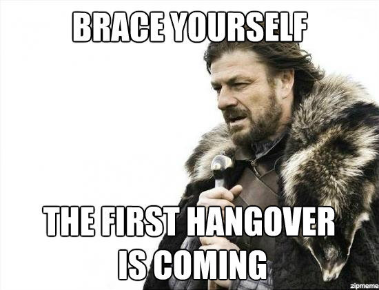 Brace Yourself The First Hangover Is Coming Meme